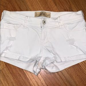 White distressed shorts from Hollister